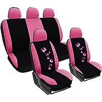 WOLTU AS7252 Fundas de asiento universales para fundas de asiento de coche fundas de asiento cubre protección, bordado de mariposa, negro-rosa