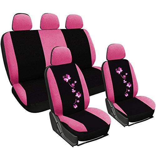 WOLTU AS7252 Set Completo di Coprisedili per Auto Macchina Seat Cover Universali Protezione per Sedile di Poliestere con Ricamo Farfalle Nero+Ros