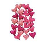 Weddix Sisalherzen als Streudeko - Tischdeko Hochzeit, romantische Deko Herzen für Valentinstag, Liebeserklärung und Heiratsantrag, rosa pink