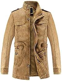 Subfamily Homme Manteau d Hiver Slim Long Trench Jacket Veste en Cuir Homme  Manches Longues Plus Veste Chaude en Velours Manteau… cb3b1aa0d85