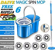 ABI CLEANING SOLUTIONS 360° Spin Floor Cleaning Bucket PVC Mop with Free 6 Microfiber Refill with Wheels (Blue