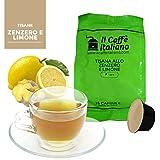 96 Cápsulas de Tisana compatibles Dolce Gusto sabor Jengibre y limón , 96 Cápsulas compatible con maquinas Dolce Gusto, Paquete de 6x16 por un total de 96 Capsules, 96 cápsulas tisana, Il Caffè italiano