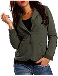 0234c8849407 Made Italy Damen Blazer Baumwolle Vintage Sweatblazer Kurzjacke