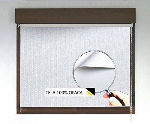 Estor enrollable OPACO PREMIUM (desde 40 hasta 300cm de ancho, no permite entrada de luz ni ver el exterior). Color blanco. Medida 200cm x 240cm para ventanas y puertas