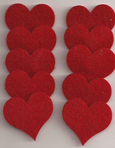 Filz-Stanzteile Herz 10 Stück ca. 4 cm