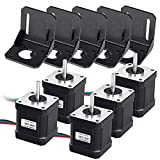 Beauty Star 5Pcs Nema 17 Motor paso a paso, Stepper Motor 1.7A 0.59Nm (83.6oz.in) 48mm con 1m 4-Pin Cable +5Pcs Nema 17 Soporte de Montajepara 3d Impresora Hobby CNC