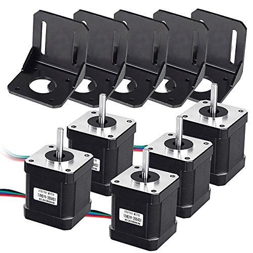 Beautystar 5 PCS NEMA 17 Schrittmotor Bipolar 2.0 A 83.6oz. in (59ncm) 47 mm Körper 4-lead W/1 m Pin Kabel + 5 PCS NEMA 17 Montagehalterung für 3D Drucker/CNC
