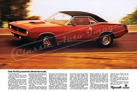 Classique et musculaire ADS et voiture Art 1970Plymouth Barracuda AD numérique et re-mastered voiture Poster imprimé