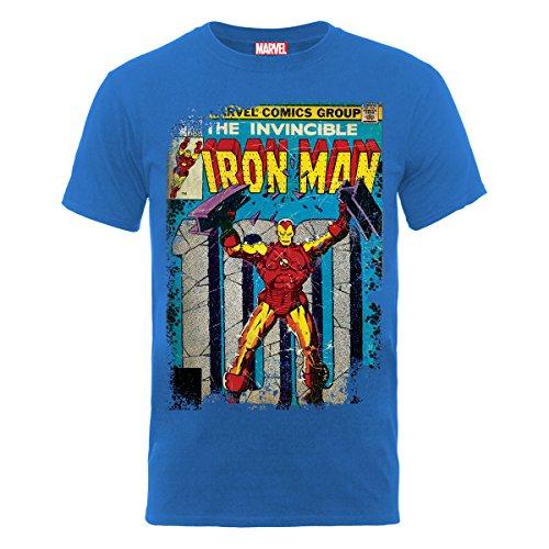 Marvel Herren T-Shirt Classics Iron Man Cover Blau - Blau (Marineblau)