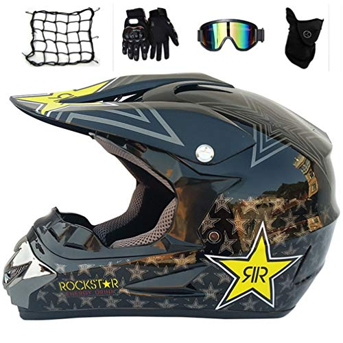 Abnehmbare Kit (MRDEAR Motorradhelm Motocross Helm Set (5 Stück), Schwarz/Rockstar, Kinder Crosshelm Schutzhelm mit Abnehmbares Ohrkissen, Sicherheit Schutz Kit für MTB Enduro BMX Downhill Offroad,S)