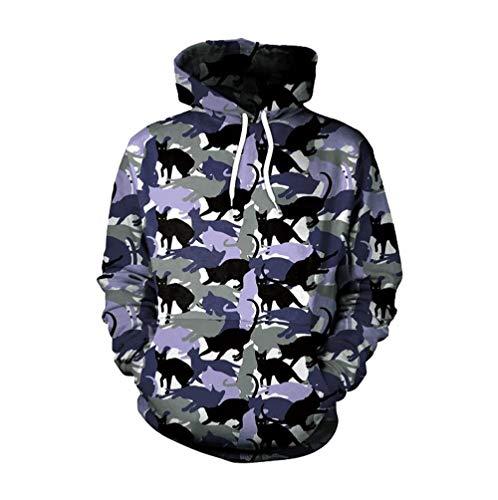 JiaMeng Weihnachten Frauen Männer Liebhaber Camouflage Katze 3D Print Langarm Hoodie Sweatshirt Pullover Mantel Top