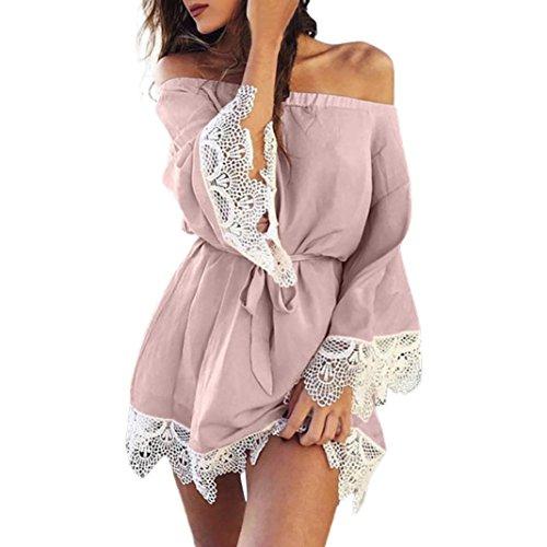 Damen Kleid Schulterfrei Kleid Trägerlos Abendkleid Btruely Sexy Sommerkleid Vintage Partykleid Frauen Minikleid (L, Rosa)
