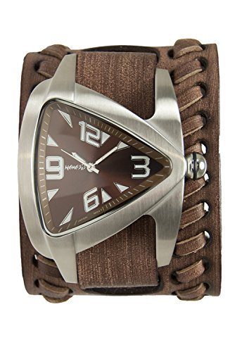 Nemesis Men's Quartz Stainless Steel and Leather Casual Watch, Color:Brown (Model: BVDB011B)