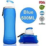 Lepfun S3 Pro Faltbare Trinkflasche Medizinisches Silikon Wasserflasche - BPA Frei, 500ML/17OZ,FDA Geprüft, Tragbare und Auslaufsichere Sportflasche für Outdoor, Reisen, Radfahren, Wandern, Camping und Picknick (S3 Blue, 500ML/17OZ)