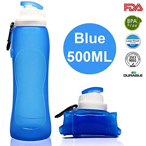 Faltbare Trinkflasche Medizinisches Silikon Wasserflasche - 500ML/17OZ, Tragbare und Auslaufsichere Sportflasche für Outdoor, Reisen, Radfahren, Wandern, Camping und Picknick (S3 Blue, 500ML/17OZ)