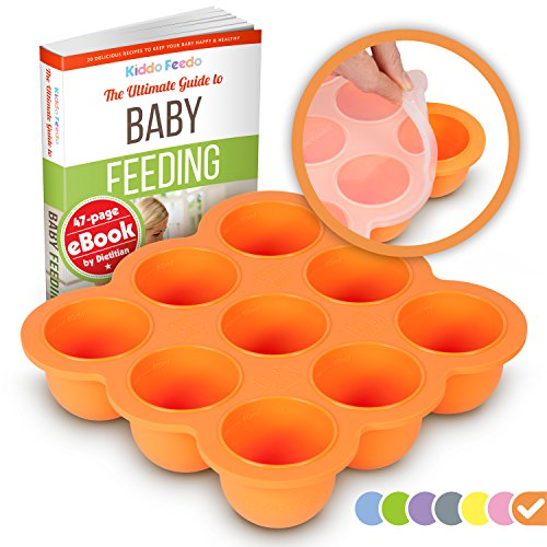 KIDDO FEEDO - Das original Gefriertablett zum Einfrieren und Aufbewahren von Babynahrung/Babykost in Portionen und als Behälter für Babybrei mit Silikondeckel - Gratis eBook - Orange -