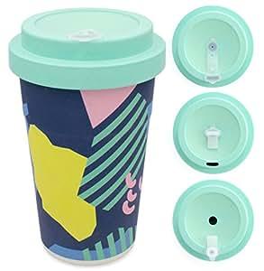 holi. Woodcup Kaffeebecher mit Schraubdeckel, Trinkloch-Verschluss | Bambusbecher Mehrweg-Becher | Coffee-To-Go, Bamboo-Cup | lebensmittelecht, recyclebar (Back to the 80s)