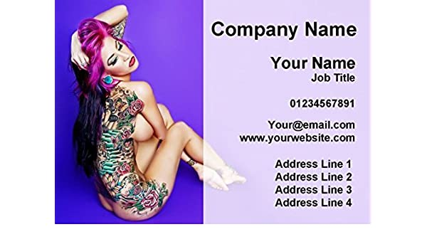 Tattoo Body Art Tattooist And Piercings Personalised Business Cards Amazon Co Uk Office Products