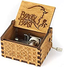 Wind Up Wooden Music Box Antique Carved Hand Crank - Beauty & The Beast Theme Music
