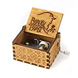 #7: Wind Up Wooden Music Box Antique Carved Hand Crank - Beauty & The Beast Theme Music