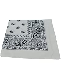 WHITE PAISLEY BANDANA 100% COTTON