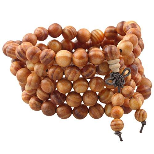 mookaitedecor elastisches Holz Armband mit 108 Perlen, Buddhistische Tibetische Gebetskette, Buddha Mala Kette Halskette für Yoga & Meditation