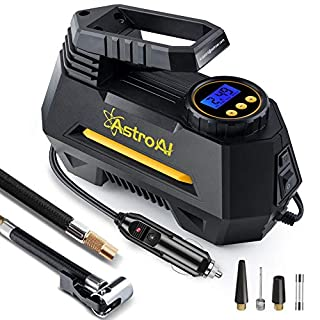 AstroAI Digital Tyre Inflator, Portable Air Compressor Tyre Pump 100 PSI 12V with 2 Ways to Screw & Clip on Valve Connector, 3 Nozzle Adaptors, LED Light And Fuse for Car Bike and Other Automobiles