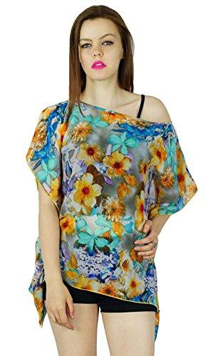 Bimba Frauen-Blumenmehrfarben Benutzerdefinierte Poncho Top Kalte Schulter Georgette Bluse Georgette Poncho