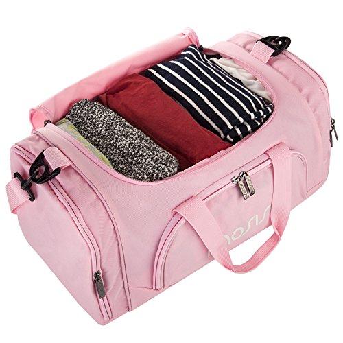 MOSISO Sport Gym Tasche Reisetasche mit vielen Fächern, Schultergurt, Tragegurt für Fitness, Sport und Reisen Sporttaschen mit Designs, Rose Rose