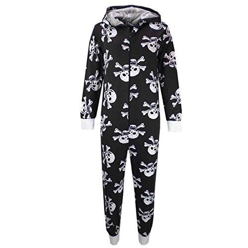 Kostüme Mädchen Für Kids (A2Z 4 Kids Kinder Unisex Mädchen Jungen Schädel & Kreuzknochen Onesie Halloween Kostüm Overall PJ 5-13 Jahren - Schwarz, EU)