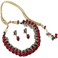 SIMAYA FASHIONISTA Maroon Beads Fashionable Necklace Set with Top Earrings for Women(SF925)