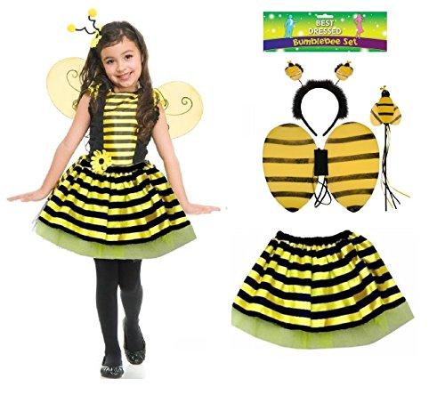 Kids Bumble Bee Tutu Kostüm Kleid Halloween Ohren - Bumble Bee Halloween Kostüm