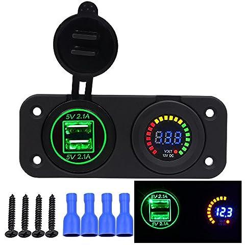 Auto Switch Panel, Happytop Dual USB chargeur de téléphone adaptateur d'alimentation DC 12V/24V d'éclairage à LED, allume cigare, voltmètre, Green (Voltmeter)