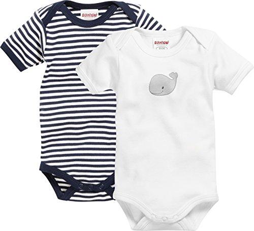 Playshoes GmbH Schnizler Unisex Baby Body Kurzarm, 2er Pack, Wal, Oeko - Tex Standard 100, Gr. 50 (Herstellergröße: 50/56), Blau (Marine/weiß 171)