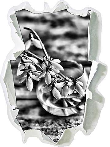 Monocrome, Schneeglöckchen in der Vase Papier im 3D-Look, Wand- oder Türaufkleber Format: 92x62cm, Wandsticker, Wandtattoo, Wanddekoration