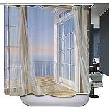 Harson&Jane Anti-Schimmel Polyester Duschvorhang 180×180 cm /72 ×72inch /180×200 cm /72×78inch Inklusive 12 weißen Duschvorhanghaken (180*180, 2)