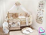 10-teiliges Baby Bettwäsche Set 120x60cm mit dickem Kinderbett Schutz Muster 7