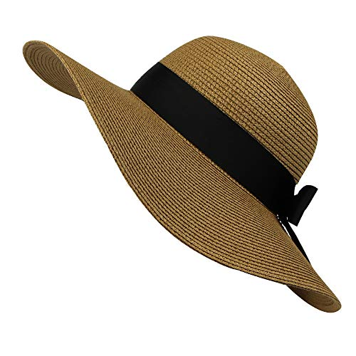 CANDLLY Hut Damen, Mode Damen Frühling und Sommer Strohhut Damen Damen breiter Krempe Strand Hut Sun Cap Kopfschmuck Zubehör (Hat Schal Ravenclaw)