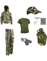 Kinder Pack Z Hose, T-Shirt, GAP, Dog Tags, Kapuze, Wasser Flasche & Freie Kontakt links Kinder Army/Military ID Card.–DPM