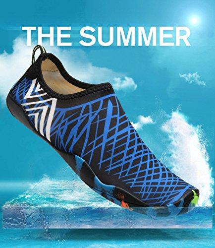 Yundac Unisex Donna Uomo Scarpe da Spiaggia Scarpe da Immersione da Acqua Scarpette da Bagno Mare Scarpe da Piscina Traspirante Antiscivolo Blu