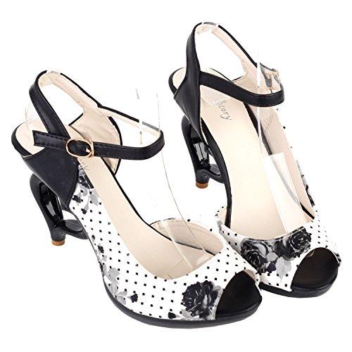 Visualizza storia fiore bianco nero d'Orsay Spot Polka Dots danza donna sposa matrimonio Sandali, LF60809 Bianco