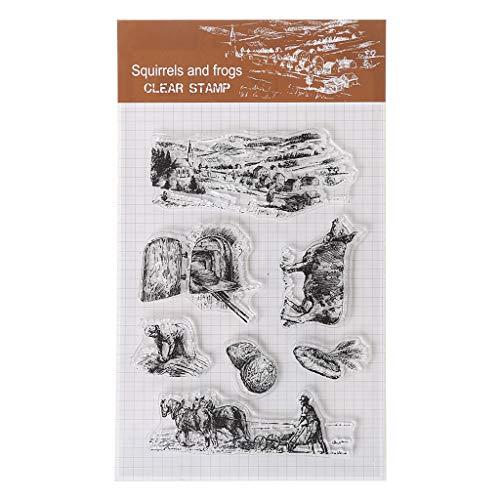 (Fafalloagrron Farm-Buffel-Silikon-Stempel, transparent, zum Selbstkleben, Tagebuch, Scrapbooking, Prägung, Album, Dekoration, Basteln, Geschenk)