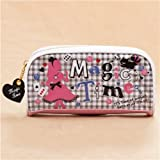 cute pink white Alice in Wonderland chequers pencil case from Japan