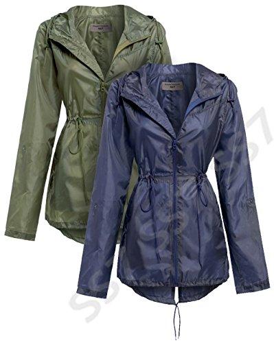 SS7 Femmes Parka Queue Veste de pluie, Marine, Kaki, tailles 10 à 22 Kaki