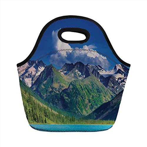 86e75a7014 Portable Bento Lunch Bag,Woodland Decor,Lake in Altai Mountains Highlands  Clouds Sunny Summer