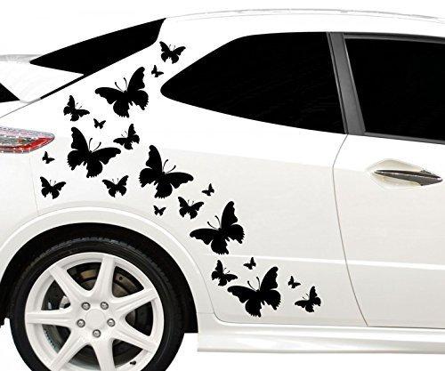 80x teiliges Set Auto Aufkleber Schmetterlinge Hibiskus Blumen Hawaii Sterne Seitenaufkleber Heckscheibe 2C133, Farbe:Schwarz glanz;Ausrichtung:gespiegelt