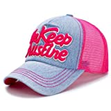 Brolux(TM) 1 PC Women Baseball Cap Summer Denim Jean 5 Panel Sun Hat Snapback Mesh Cap With Letters Hats For Men Female Girls Outdoor Sport [Plum Red ]