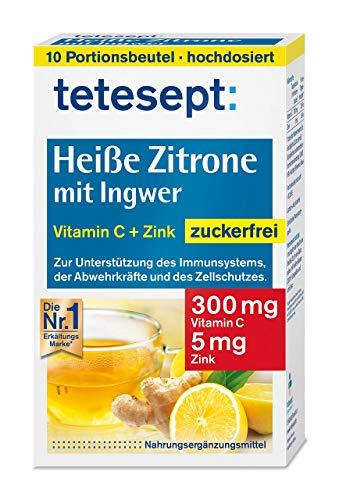 tetesept Heiße Zitrone mit Ingwer - Instant Pulver zuckerfrei mit Zink & Vitamin C - Abwehrkräfte und Immunsystem unterstützen - 1 Packung à 10 Beutel