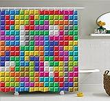 Abakuhaus Duschvorhang, Tetris Computer Spiel Gamer Arkaden Bunt Logo Spieler Applikation Buntes Druck Mehrfarbig Bunt, Wasser und Blickdicht aus Stoff mit 12 Ringen Bakterie Resistent, 175 X 200 cm