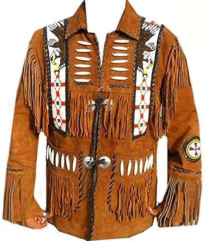 Cowboy de Celebrita X style Hommes Veste en cuir à franges et de perles et perles daim brun XL - For Chest